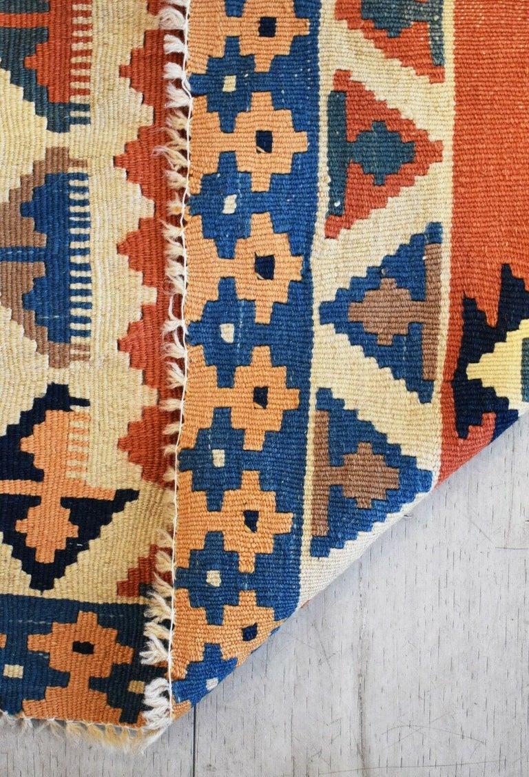 Wool Vintage Handwoven Kilim Rug / Runner Natural Dye For Sale