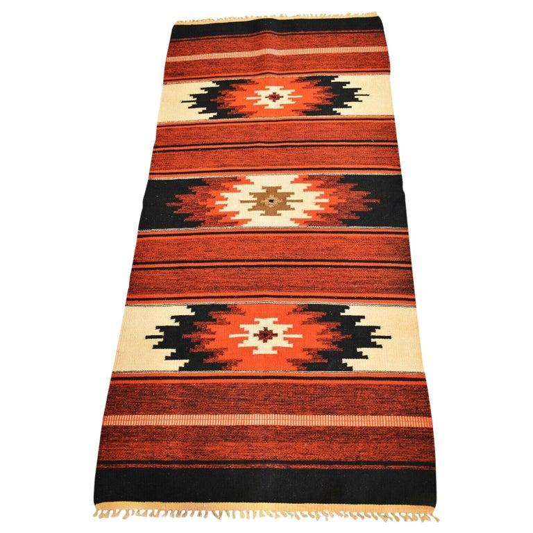 Vintage Handwoven Kilim Rug / Runner Natural Dye For Sale