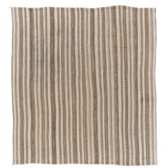 Vintage Handwoven Kilim Rug with Vertical Bands, 100% Wool. 6.2x6.7 Ft