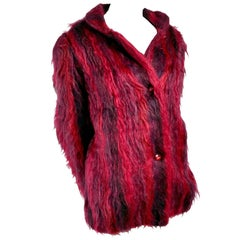 Vintage Handwoven Nano Fuzzy Mohair Coat in Red and Purple With Satin Lining