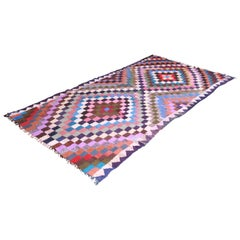 Vintage Handwoven Persian Kilim Rug with Vibrant Colors