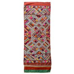 Vintage Handwoven Silk Shawl End Panel Tai Nue from Laos Mid-20th Century