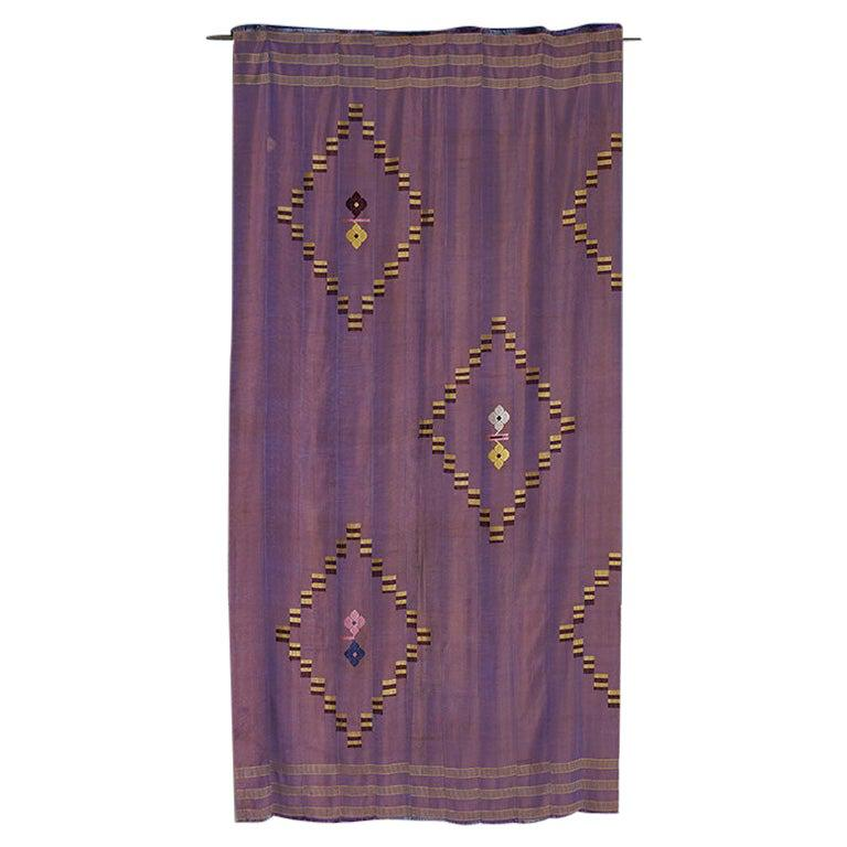 Vintage Handwoven Textile with Geometrical Embroidery, West Africa, 1970's