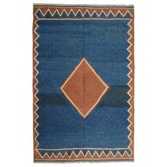 Vintage Handwoven Tribal Kilim Rug Blue Minimalist