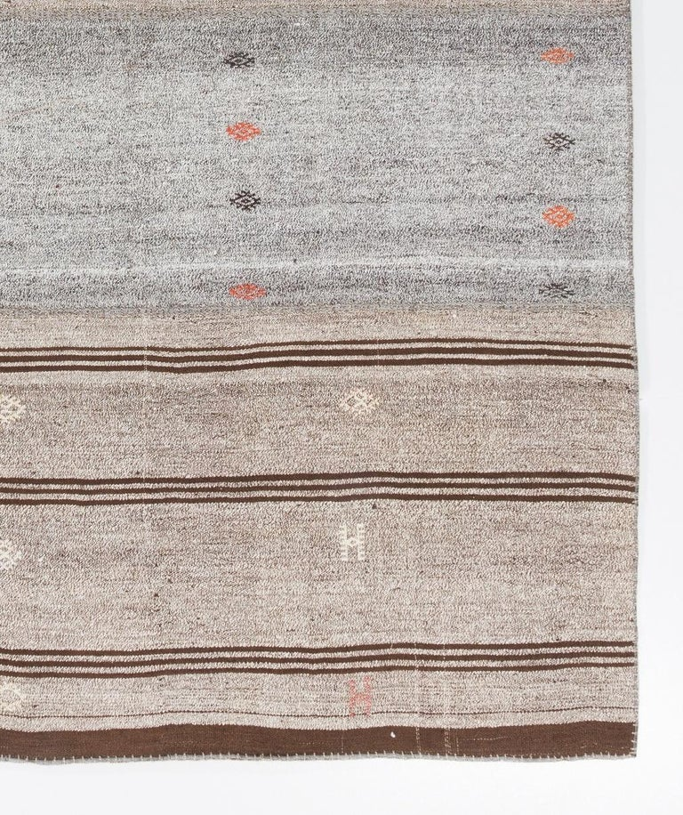 Cotton Vintage Handwoven Turkish Kilim 'Flat-Weave' For Sale