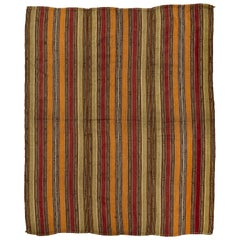 Vintage Handwoven Turkish Kilim with Vertical Bands, All Wool