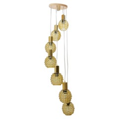 Vintage Hanging Chandelier with Seven Glass Lampshades, Pokrok Žilina, Czech