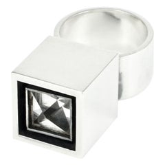 Vintage Hans Hansen Modernist Sterling Silver Rock Crystal Box Ring Danish 1970s