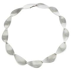 Vintage Hans Hansen Sterling Silver Modernist Leaf Link Necklace, 1970s