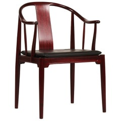 Vintage Hans J. Wegner Mahogany China Chair FH 4283 with Black Leather Cushion
