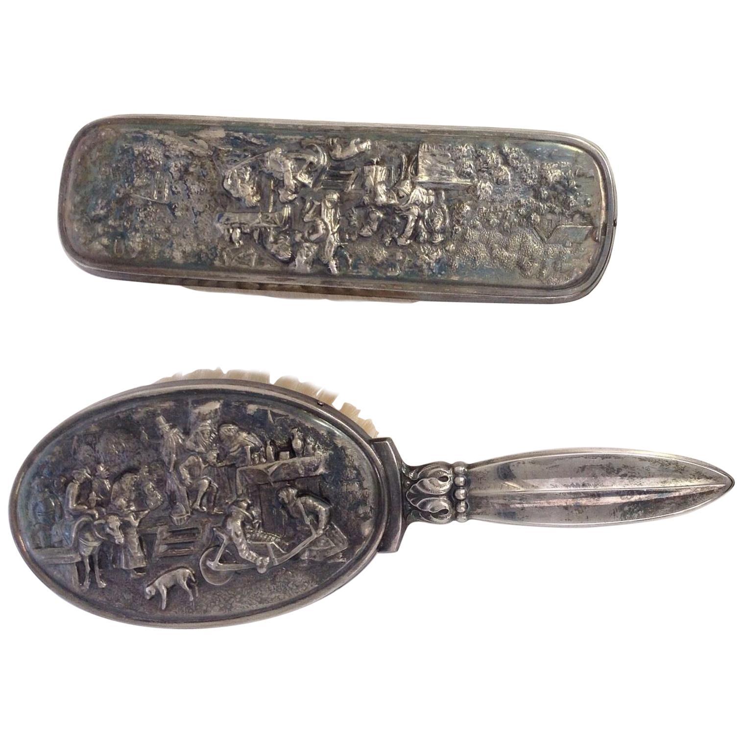 Vintage Hans Jensen Danish Silver Plated Brush Set