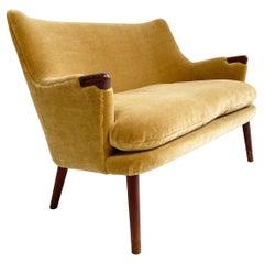 Vintage Hans Wegner Ch72 Sofa, Restored in Pierre Frey Teddy Mohair