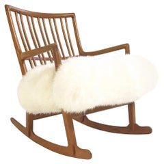 Vintage Hans Wegner for Mikael Laursen ML-33 Rocking Chair in Sheepskin