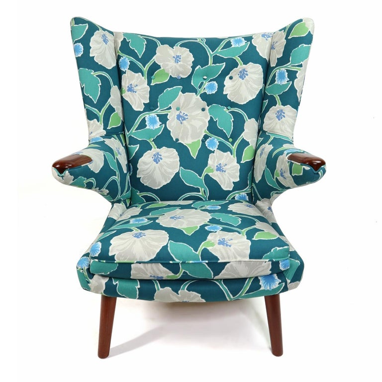 Danish Vintage Hans Wegner Papa Bear Chair Set with Ottoman in Floral Print For Sale