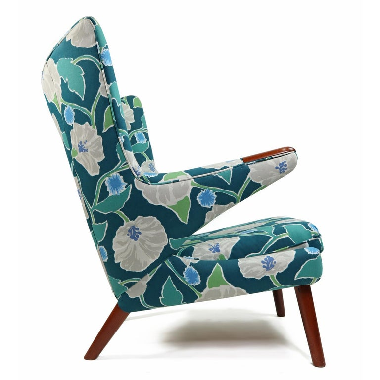 Mid-20th Century Vintage Hans Wegner Papa Bear Chair Set with Ottoman in Floral Print For Sale