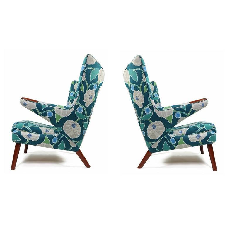 Teak Vintage Hans Wegner Papa Bear Chair Set with Ottoman in Floral Print For Sale