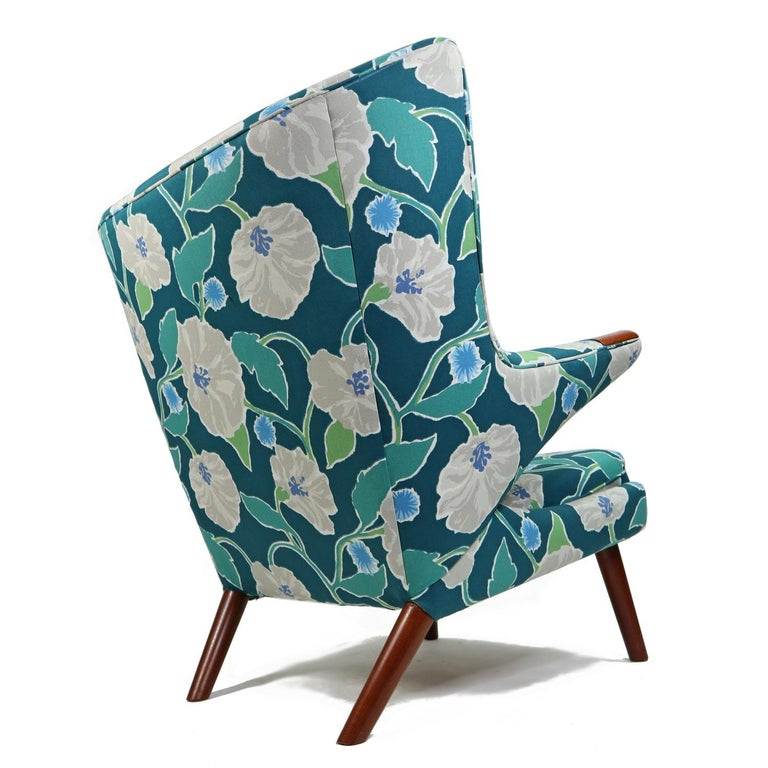 Vintage Hans Wegner Papa Bear Chair Set with Ottoman in Floral Print For Sale 2