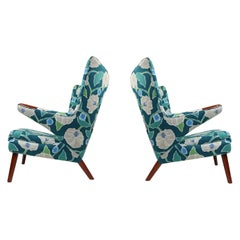 Vintage Hans Wegner Papa Bear Chair Set with Ottoman in Floral Print