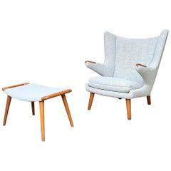"Vintage Hans Wegner ""Papa Bear"" Lounge Chair and Stool in Teak for Ap Stolen"