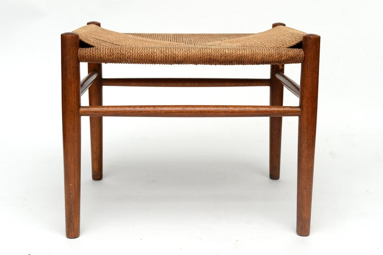 Vintage Hans Wegner Wishbone Chair and a Jorgen Baekmark Stool, 1960s For Sale 3