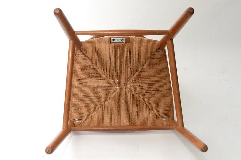 Cane Vintage Hans Wegner Wishbone Chair and a Jorgen Baekmark Stool, 1960s For Sale