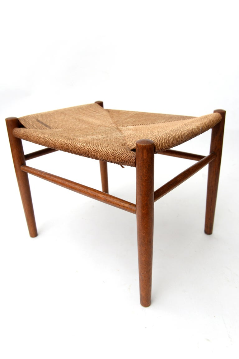 Vintage Hans Wegner Wishbone Chair and a Jorgen Baekmark Stool, 1960s For Sale 2