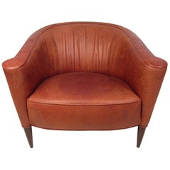 Vintage Hard Wood and Leather Lounge Chair