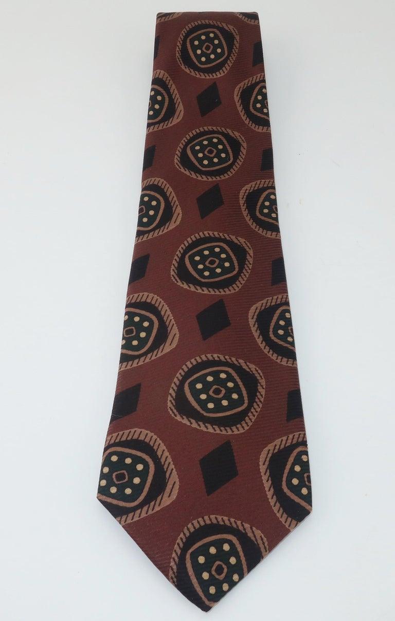 Vintage Hardy Amies Men's Brown Silk Neck Tie In Good Condition For Sale In Atlanta, GA