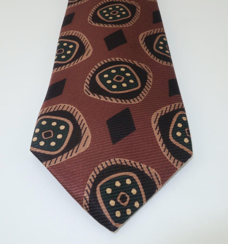 Vintage Hardy Amies Men's Brown Silk Neck Tie For Sale 1