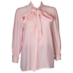 Vintage Hardy Amies Pink Silk Blouse