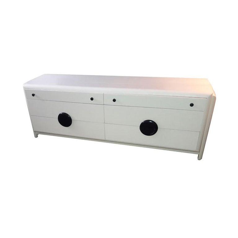 Wood Vintage Harold Schwartz Romweber Art Deco White Lacquered Nightstand For Sale