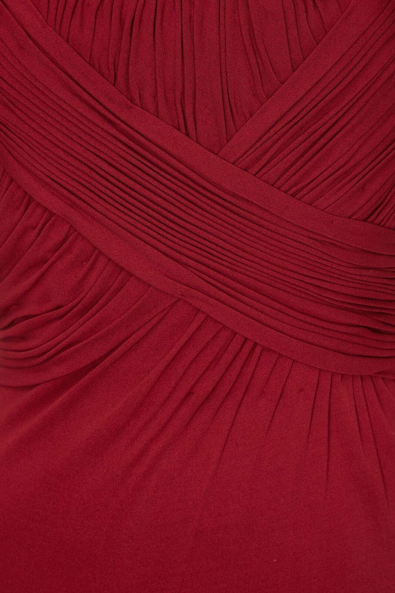 Red Vintage Harrods 1950s Burgundy Silk Jersey Dress With Pleated Bodice For Sale