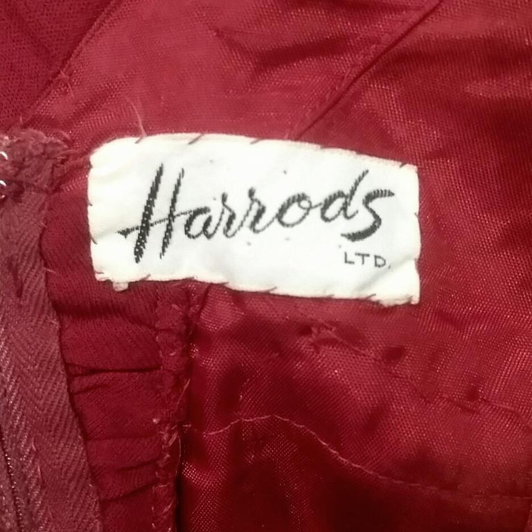 Vintage Harrods 1950s Burgundy Silk Jersey Dress With Pleated Bodice For Sale 1