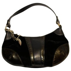 Vintage Harrods Black Velvet , Snakeskin and Leather Handbag