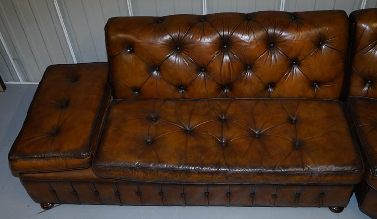 Vintage Harrods Chesterfield Hand Dyed Cigar Brown Leather Corner Sofa Walnut For Sale 5