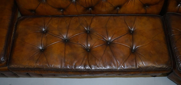 Vintage Harrods Chesterfield Hand Dyed Cigar Brown Leather Corner Sofa Walnut For Sale 6