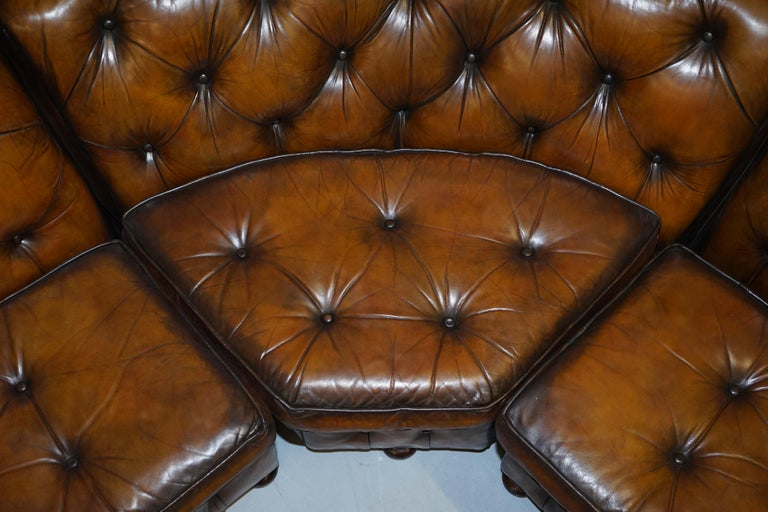 Vintage Harrods Chesterfield Hand Dyed Cigar Brown Leather Corner Sofa Walnut For Sale 7
