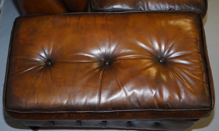 Vintage Harrods Chesterfield Hand Dyed Cigar Brown Leather Corner Sofa Walnut For Sale 8