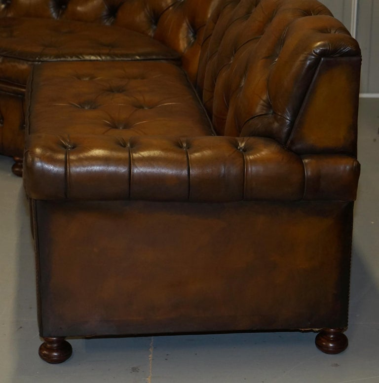 Vintage Harrods Chesterfield Hand Dyed Cigar Brown Leather Corner Sofa Walnut For Sale 9