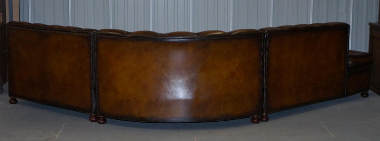 Vintage Harrods Chesterfield Hand Dyed Cigar Brown Leather Corner Sofa Walnut For Sale 11
