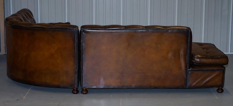 Vintage Harrods Chesterfield Hand Dyed Cigar Brown Leather Corner Sofa Walnut For Sale 12
