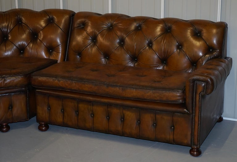 English Vintage Harrods Chesterfield Hand Dyed Cigar Brown Leather Corner Sofa Walnut For Sale
