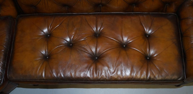 20th Century Vintage Harrods Chesterfield Hand Dyed Cigar Brown Leather Corner Sofa Walnut For Sale