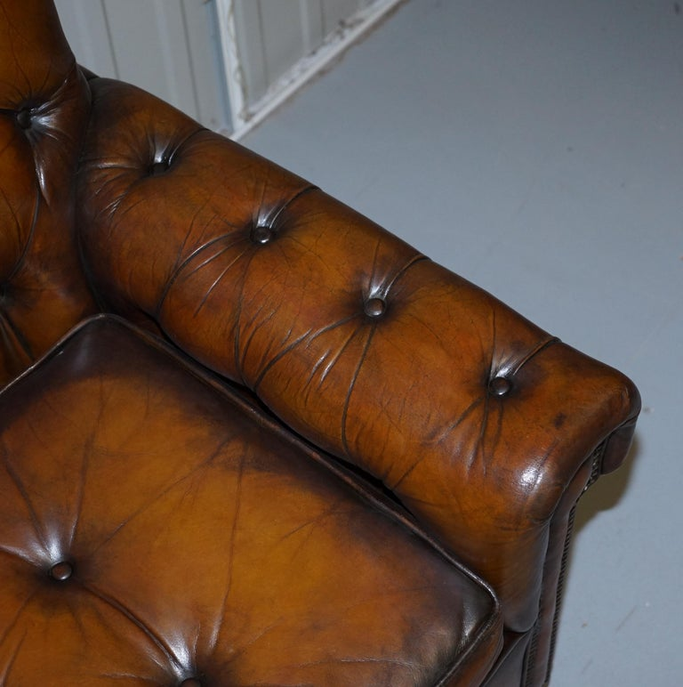 Vintage Harrods Chesterfield Hand Dyed Cigar Brown Leather Corner Sofa Walnut For Sale 1