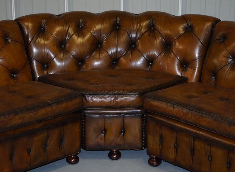 Vintage Harrods Chesterfield Hand Dyed Cigar Brown Leather Corner Sofa Walnut For Sale 2