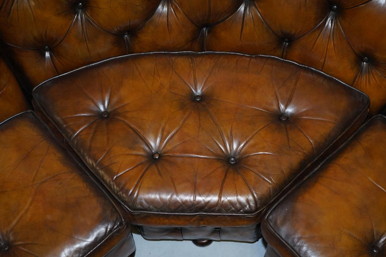 Vintage Harrods Chesterfield Hand Dyed Cigar Brown Leather Corner Sofa Walnut For Sale 3