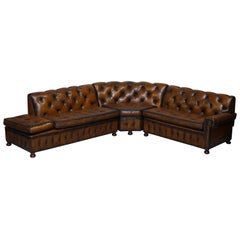 Vintage Harrods Chesterfield Hand Dyed Cigar Brown Leather Corner Sofa Walnut