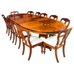 Vintage Harrods Dining Table 20th Century and 12 Dining Chairs, 19th Century