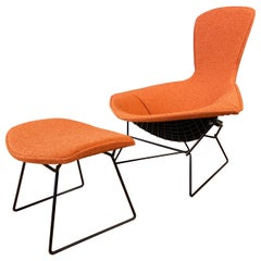 Vintage Harry Bertoia for Knoll Bird Chair and Ottoman with New Covers, 1980s