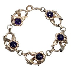 Vintage Harry Iskin Gold Vermeil over Ster Silver Purple Flower Bracelet